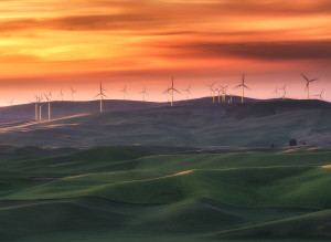 The Pacific Northwest is God's country, so much natural beauty.  I saw this spectacular sunset in Eastern Washington.  Looking North-West from during sunset, when the sun rays just completely lit up the wind farm and kissed the hillside.