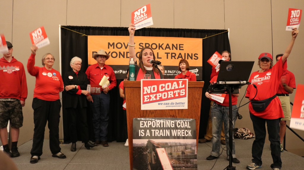 rev. Liv Larson Andrews at Spokane Coal Rally