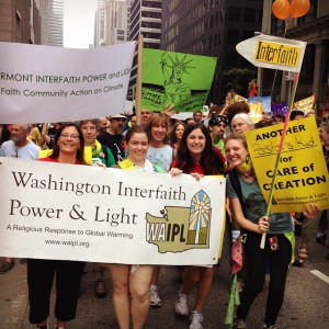 Earth Ministry's LeeAnne Beres and Jessica Zimmerle at the People's Climate March in 2014.